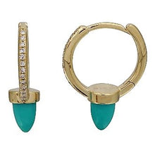 Load image into Gallery viewer, Diamond Turquoise Earrings