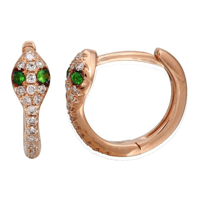 Diamond & Tsavorite Snake Huggie Earrings