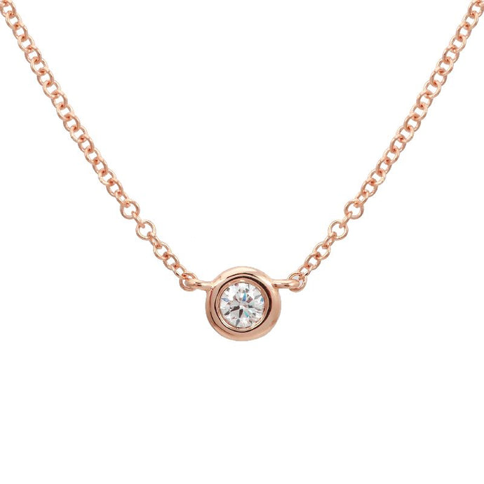 Diamond Bezel Set Solitaire Necklace