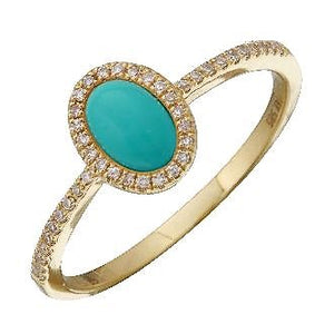 Diamond Halo Oval Turquoise Ring