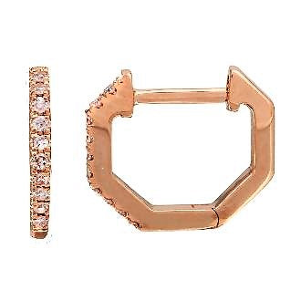 Diamond Octagon Huggie Earrings