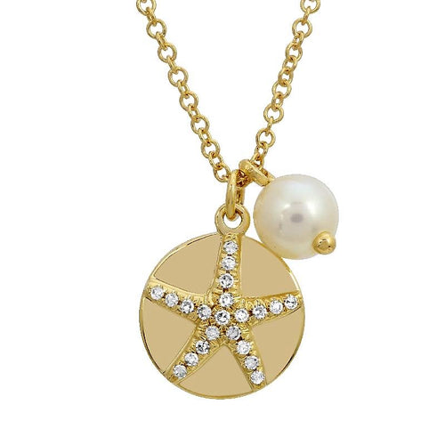 Diamond Starfish Disc & 5.0mm Freshwater Pearl Necklace