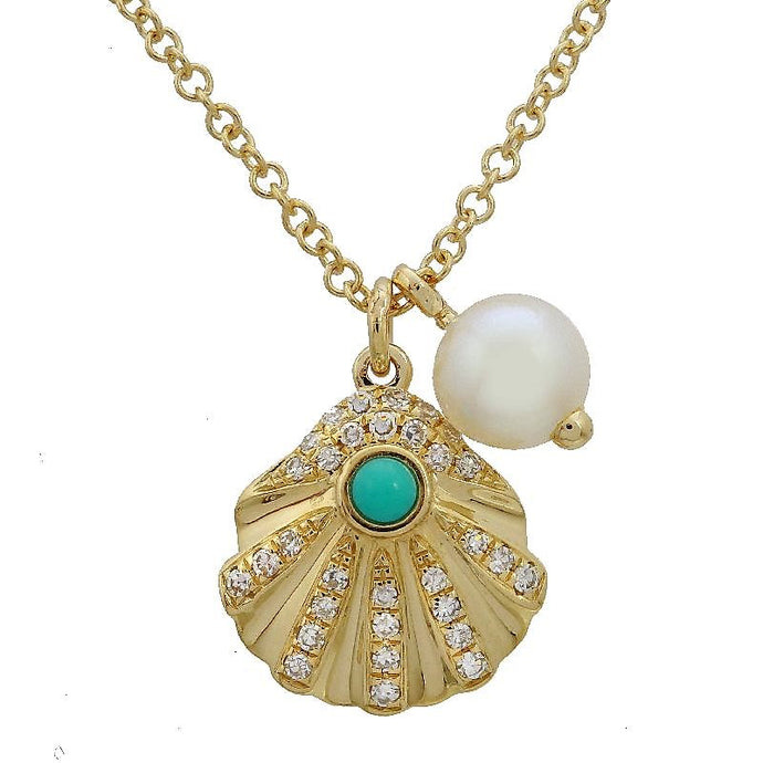 Diamond Turquoise Sea Shell Pearl Necklace