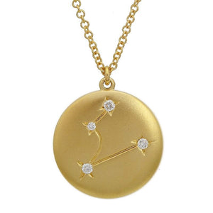 Satin Finished 14kt Yellow Gold Diamond Zodiac Pendant with chain