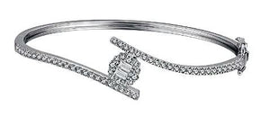Diamond Baguette Halo Twist Bangle