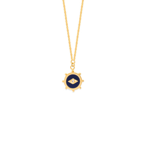 Cut Out Gold Blue Enamel Nautical Medallion