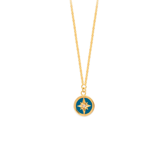 Cut Out Gold Turq Enamel Star Medallion