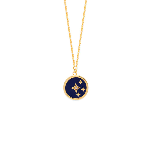 Cut Out Gold Blue Enamel Celestial Medallion