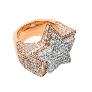 Large Diamond Double Step Star Ring