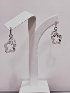 Dangling Ajouré Flower Cubic Zirconia Sterling Silver Earrings