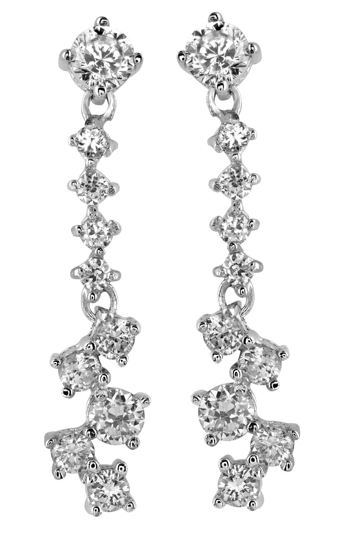 Dangling Cubic Zirconia Sterling Silver Earrings