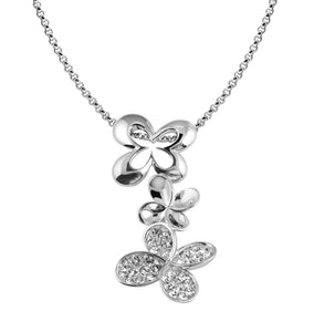 Cubic Zirconia Sterling Silver Flower Drop Necklace
