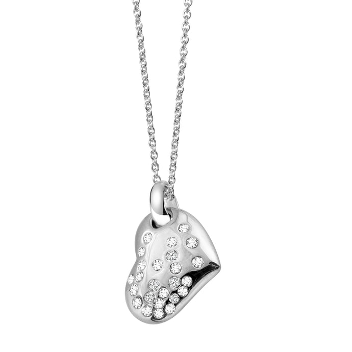 White Crystal Heart Sterling Silver Necklace
