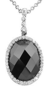 Cubic Zirconia Halo Oval Faceted Black Onyx Sterling Silver Necklace