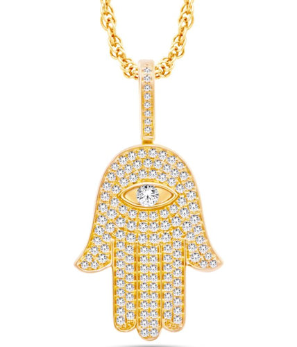 Diamond Hamsa Eye Pendant