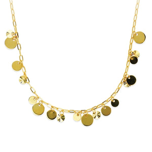 Gold Multi Dangling Disk Necklace
