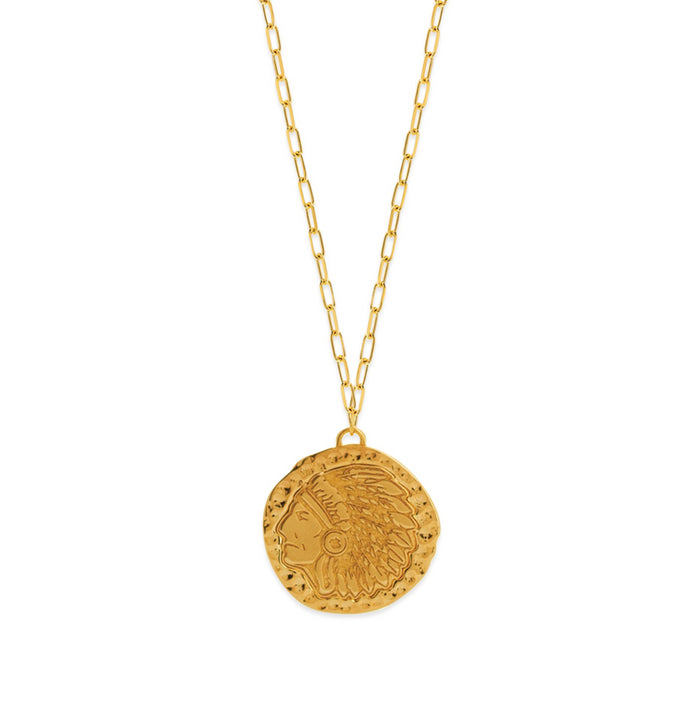 Gold Vintage Indian Face Medallion Necklace