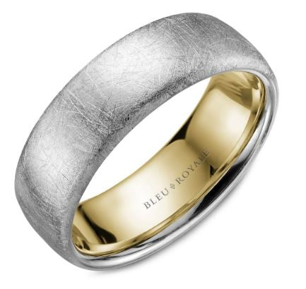 7.5 MM Diamond Brushed Finish with Yellow Gold Interior Wedding Band