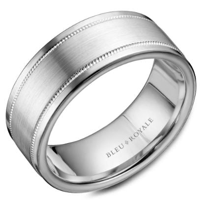 8.5 MM White Gold with Brushed Center & Milgrain Detailing Wedding Band