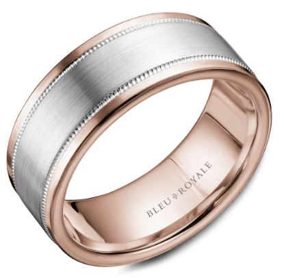8.5 MM Rose Gold with Brushed White Gold Center & Milgrain Detailing Wedding Band