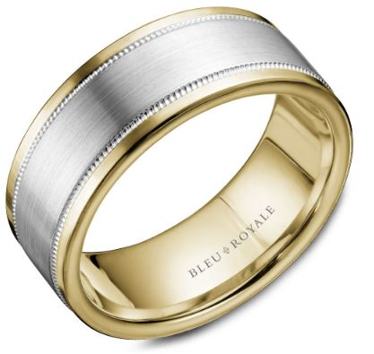 8.5 MM Yellow Gold with Brushed White Gold Center & Milgrain Detailing Wedding Band