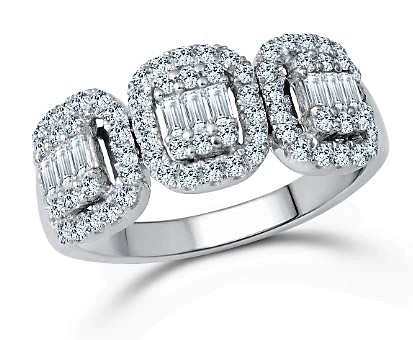 Diamond Trinity Halo Ring