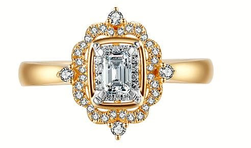 Diamond Emerald Cut Flower & Classic Halo Engagement Ring
