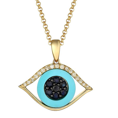 Diamond Turquoise Sapphire Eye Necklace