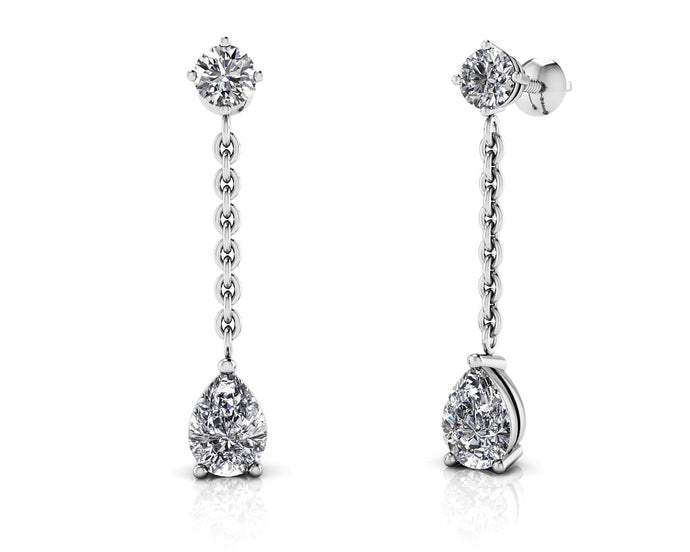 Elegant Pear Diamond Drop Earrings