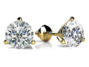 Three-Prong Martini Round Diamond Stud Earrings Screw back in 14kt Gold