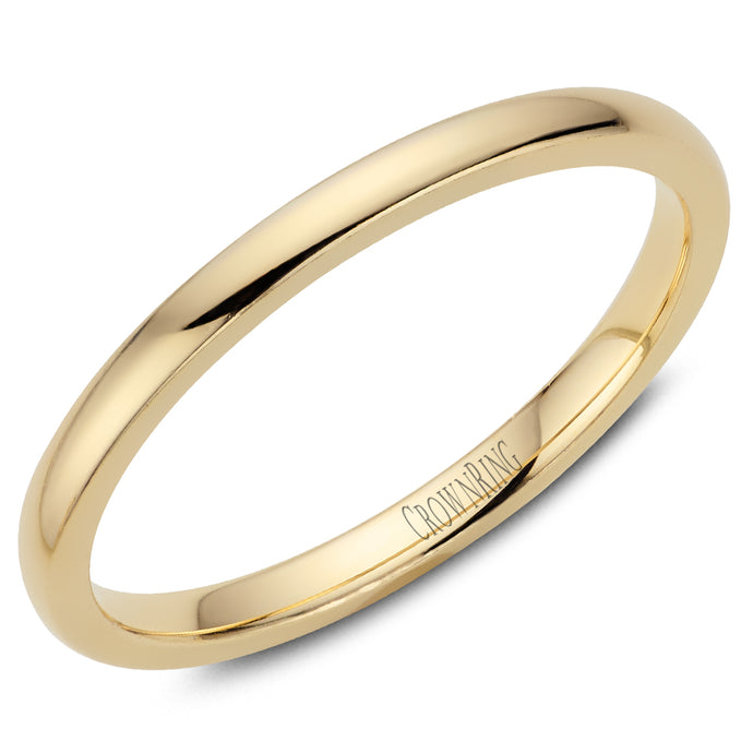 2mm Traditional Half Rounded Comfort Fit Wedding Band in 14 Karat