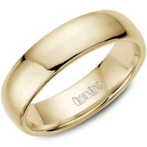 6mm Traditional Half Rounded Comfort Fit Wedding Band in 14 Karat