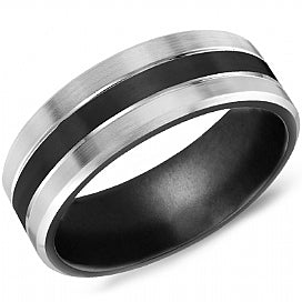 8mm Black & Grey Titanium Comfort Fit Wedding Band
