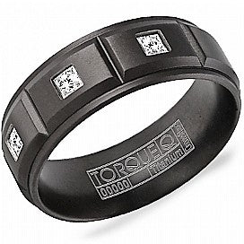 8mm Black Titanium with 3 Diamonds Comfort Fit Wedding Band