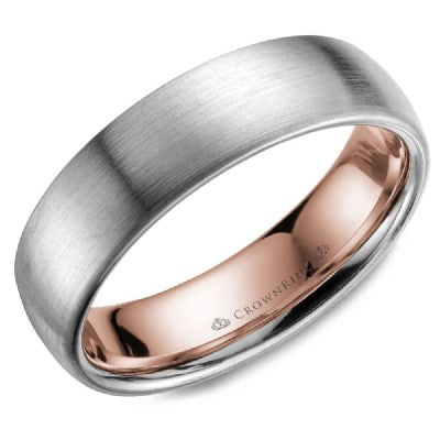 6mm Satin Finished Dome Comfort Fit Wedding Band Inlayed