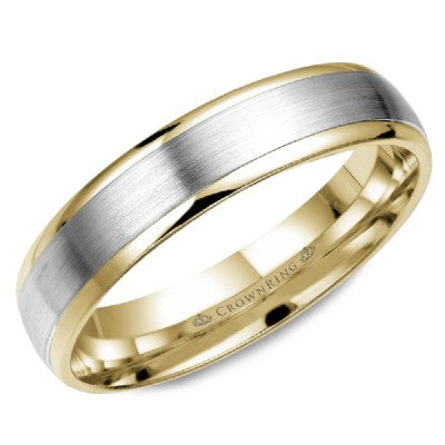 White Gold Brushed & Yellow Gold High Polished Wedding Band