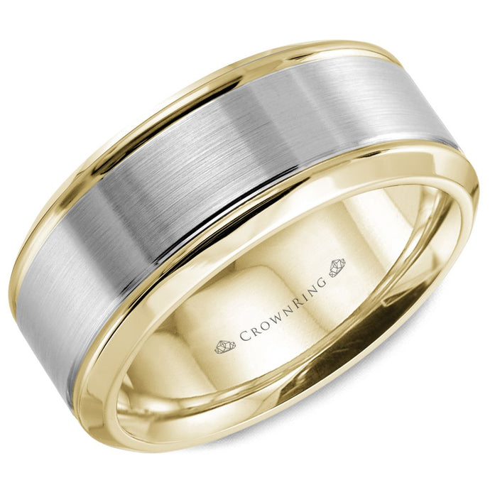 8 MM Yellow Gold with Brushed White Center & Beveled Edges Wedding Band