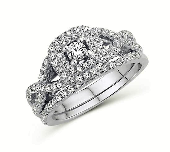 Interlaced Diamond Double Halo Engagement Ring
