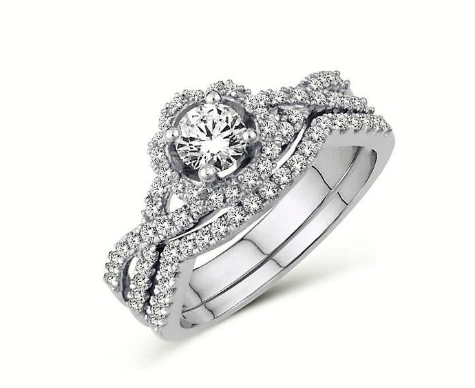 Interlaced Diamond Halo Engagement Ring Set