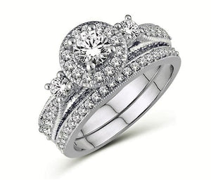 Diamond Trinity Halo Engagement Ring Set