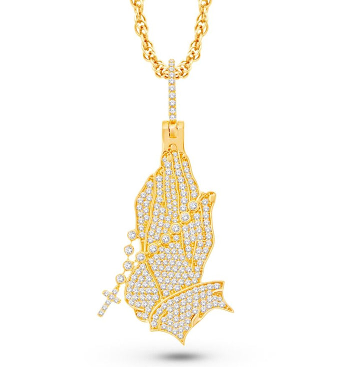 Hand Prayer Pavé set Diamond Pendant