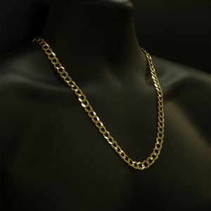 10kt Yellow Gold Curb Cuban Link 9.5mm Chain 24 inches