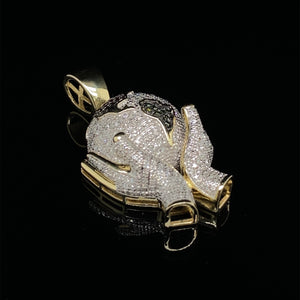 10kt Yellow Gold Diamond Hands Holding Globe Pendant