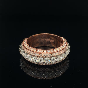 10K Signature Collection Rose Gold And White Gold 5 Rows Band 3.65ct VVS Diamonds
