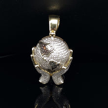 Load image into Gallery viewer, 10kt Yellow Gold Diamond Hands Holding Globe Pendant