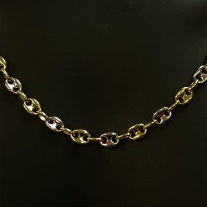 10kt Yellow & White Gold Gucci Puff Link Chain 7.5 mm 24 Inches