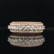 Load image into Gallery viewer, 10K Signature Collection Rose Gold And White Gold 5 Rows Band 3.65ct VVS Diamonds