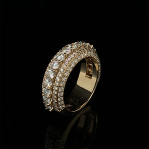 14K Signature Collection Yellow Gold Band 5 Rows 3.65ct VVS Diamonds