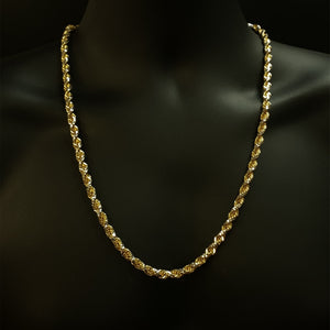 10kt Yellow Gold & White Rhodium Diamond Cut Solid Rope Chain 6.0 mm 26 Inches