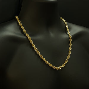 10kt Yellow Gold Diamond Cut Rope Chain 7 mm 24 inches
